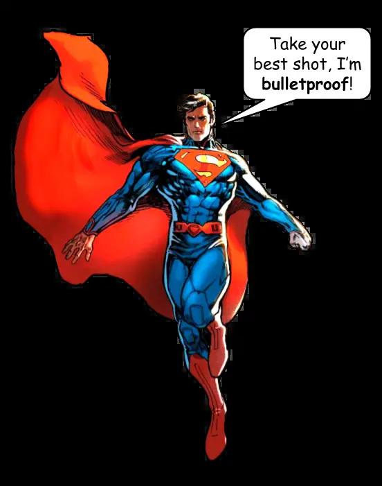 English vocabulary -suffix ~PROOF  Super man is bulletproof.
