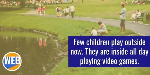 FEW children playing in park.