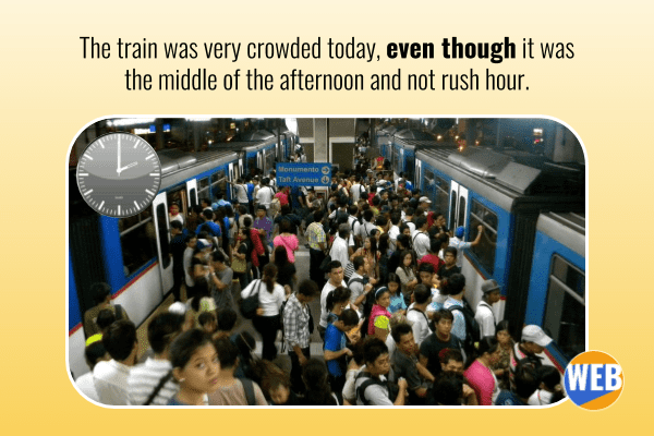 The train was very crowded today, even though it was the middle of the afternoon and not rush hour.