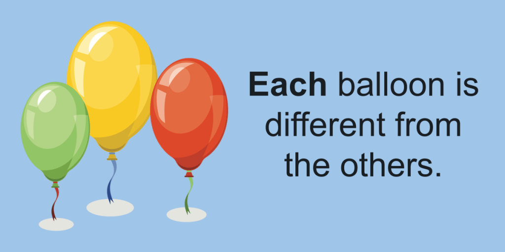 Each or Every Each balloon is  different from the others.