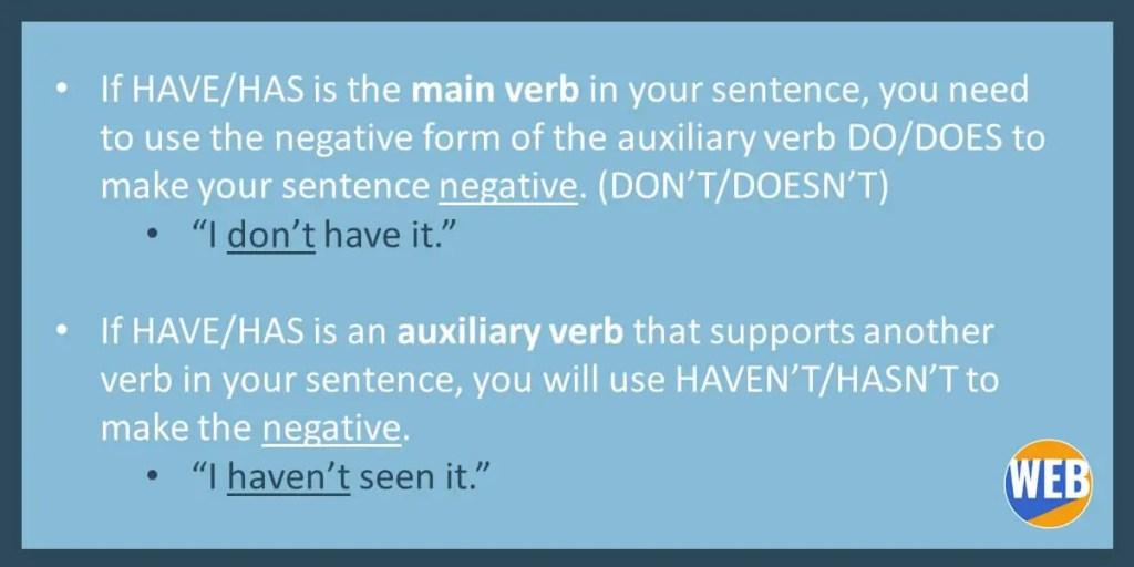Hasn't VS. Doesn't have English Grammar
