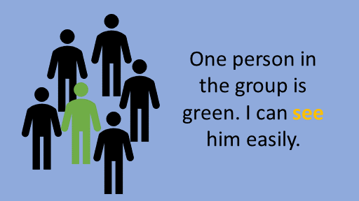 One person in the group is green. I can see him easily. see watch look at pdf