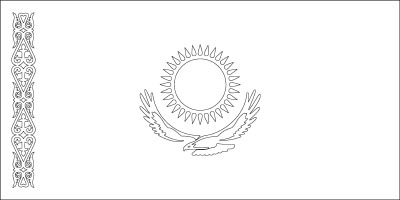 Coloring page for the Flag of Kazakhstan