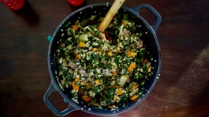 Bulgar and spinach pilau with mint, lemon and rare beef