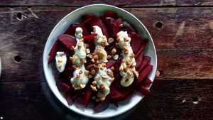 Smoked beetroot with toasted nuts