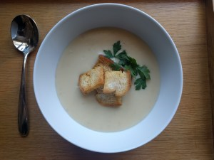 Austrian Garlic Soup and Croutons