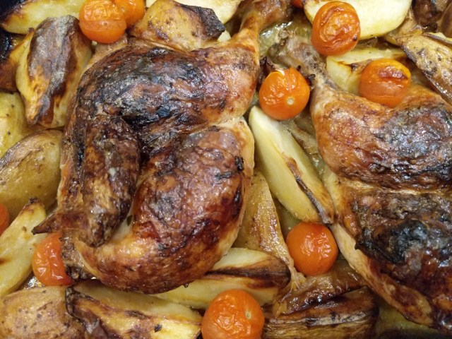 Roasted Hen with Potatoes and Apples