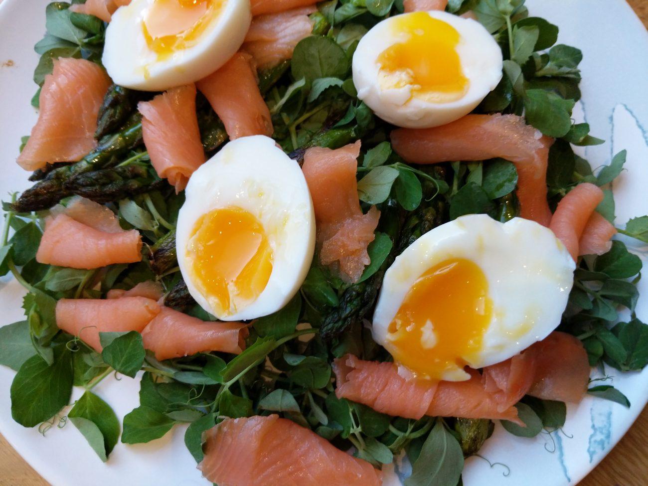 Smoked Salmon, Asparagus, Pea Shoots and Egg Salad