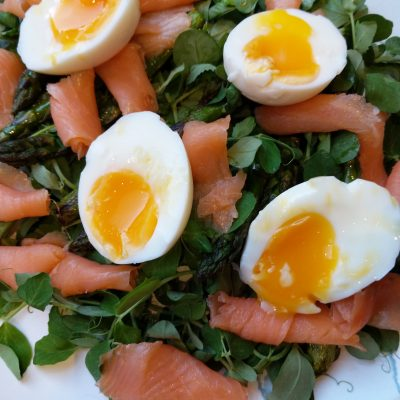 Pea Shoot, Asparagus and Smoked Salmon Salad