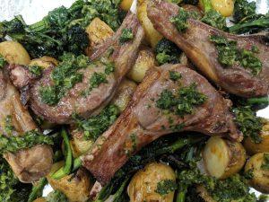 BBQ Lamb Chops With Chimichurri Sauce Brocolli And New Potatoes