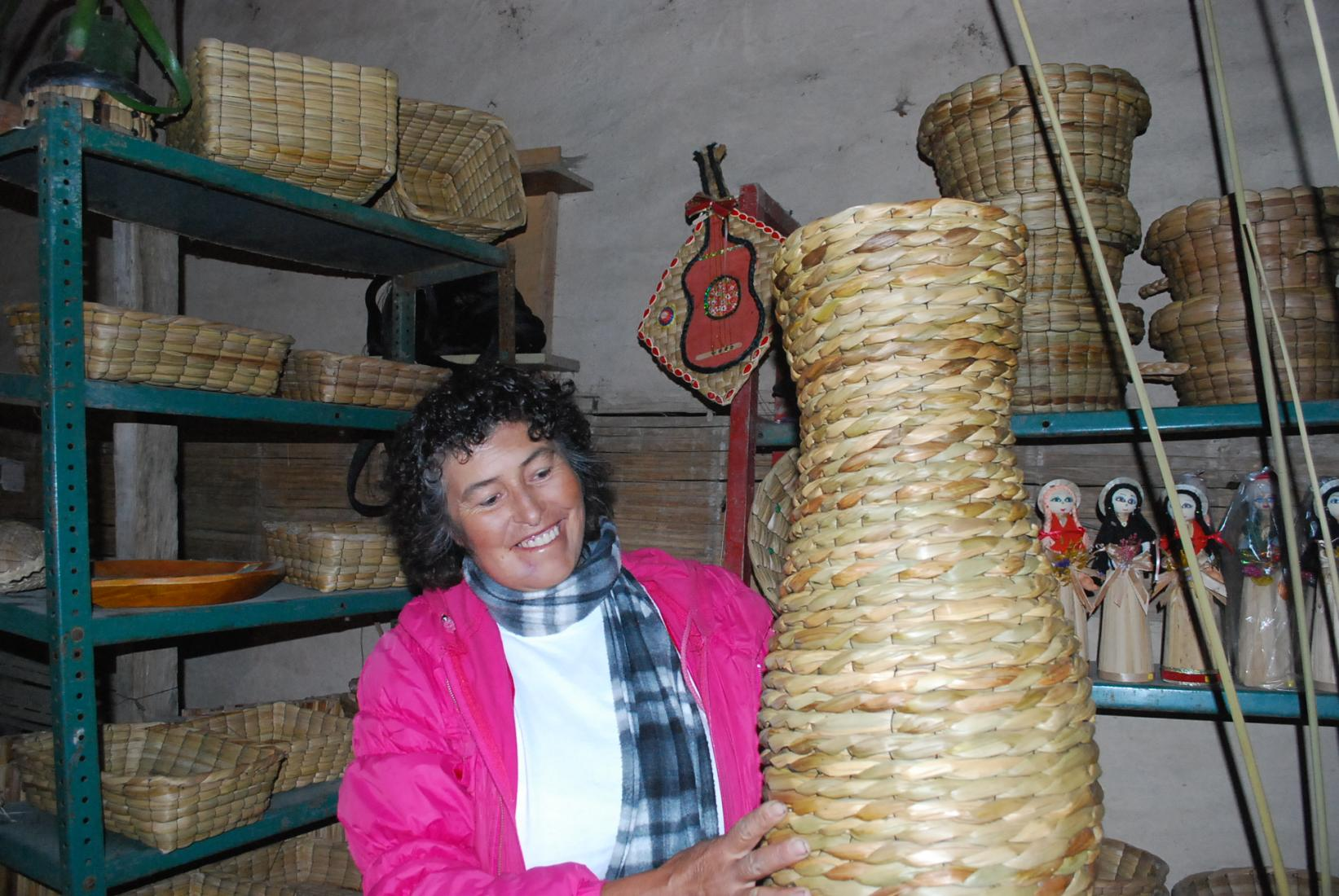 Basket weaver in a Colombian village.