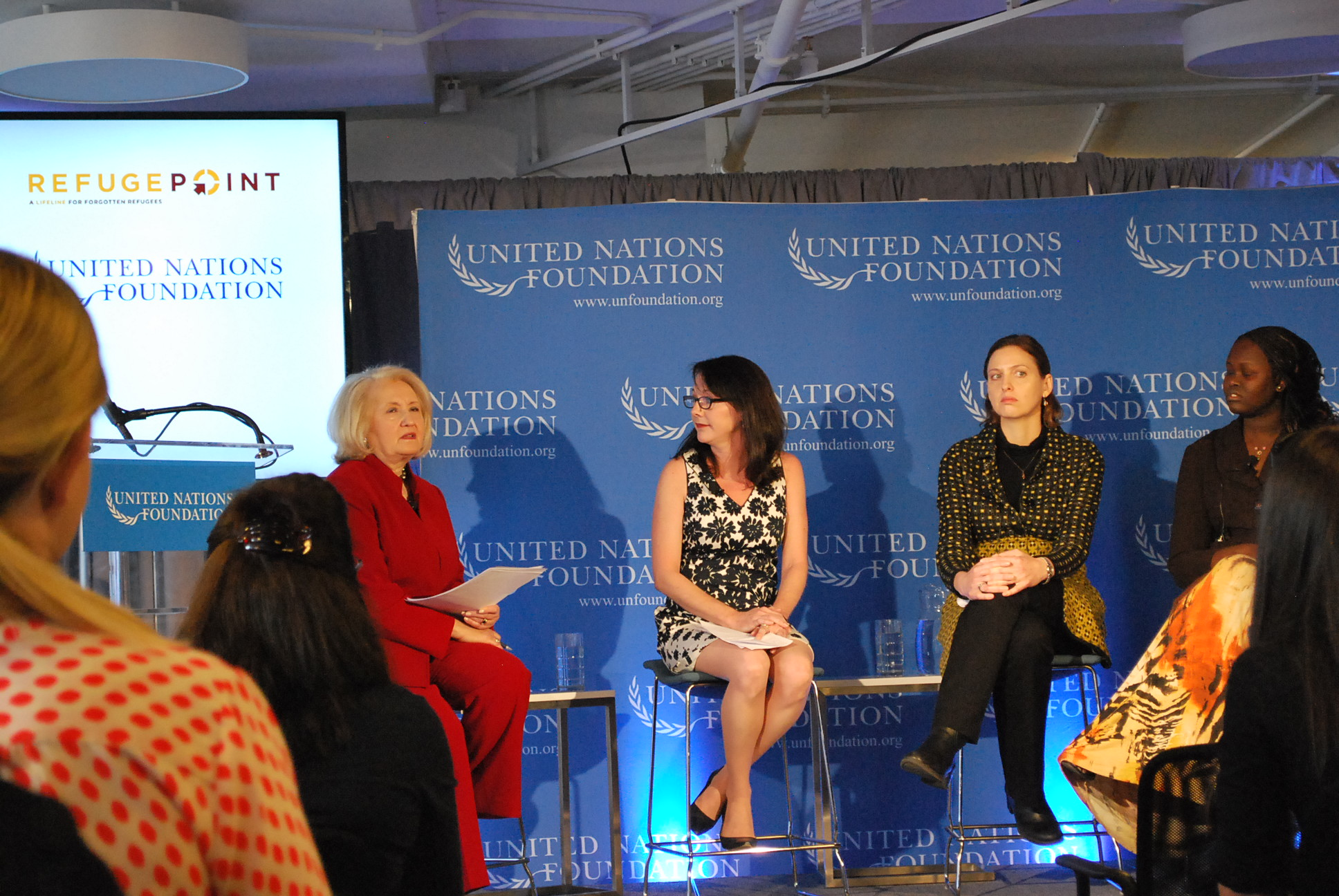 UN Foundation event Women in Fragile States with panel and moderator.