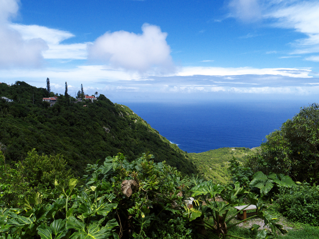 View from above of Saba. The rise on left is the road to Hell's Gate.Photo David B. Gleason.jpg