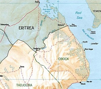 Shaded relief map of Djibouti, original from 1991, with the border between Ethiopia and Eritrea added in 2006.