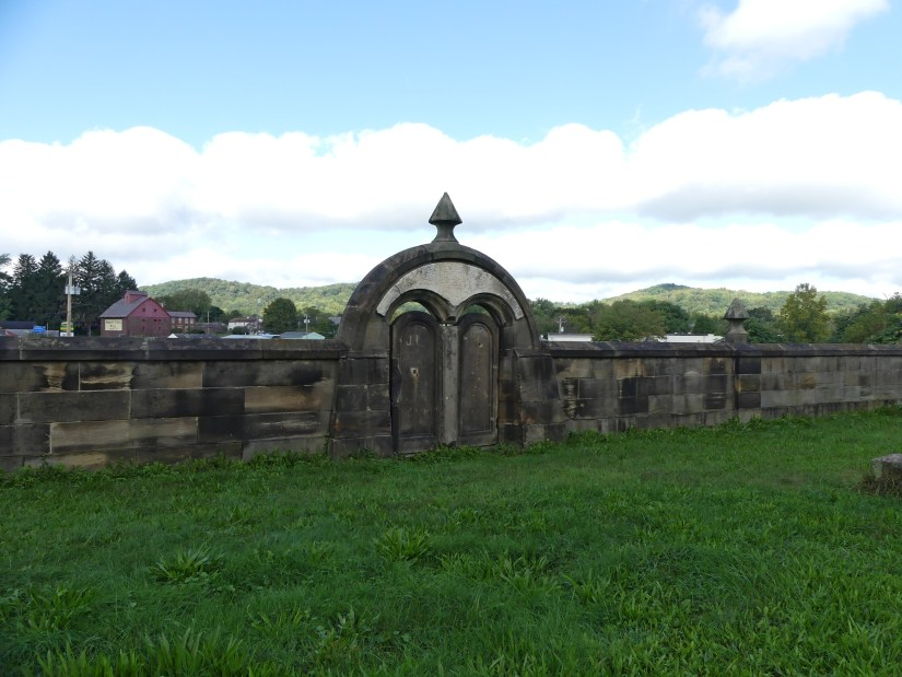 Stone wall and gate at Harmonists Cemetery. Photo: Kathleen Walls