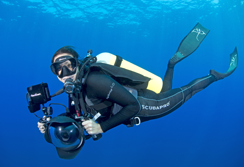 Andrea Marshall behind the camera in Mozambique.  Photo courtesy of Marine Megafauna Foundation.