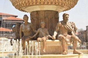 Philip of Macedon fountain in Skopje's main square.