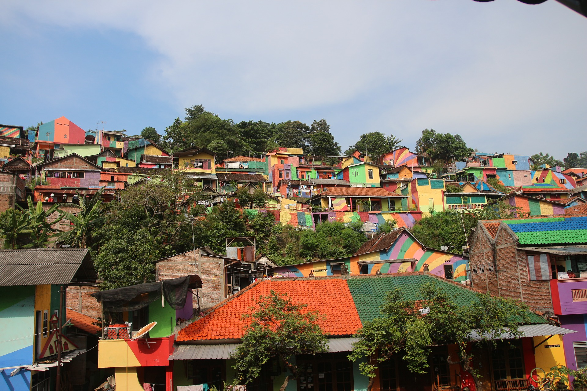 Colorful rainbow painted village
