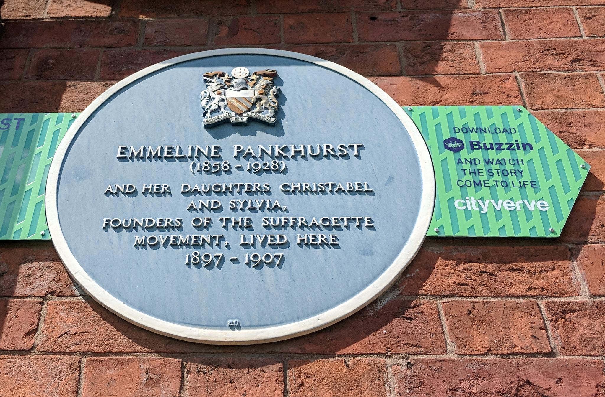 Emmeline Pankhurst plaque.