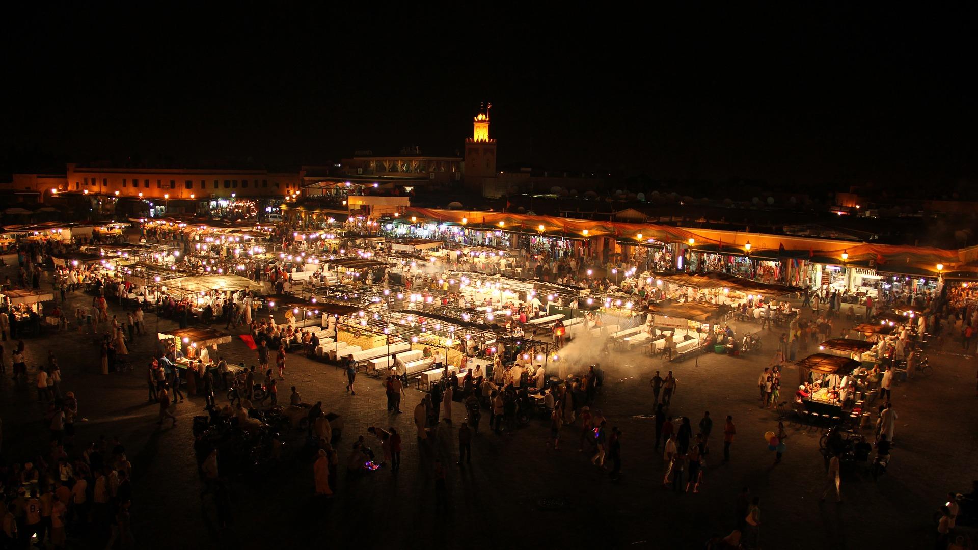 Jemaâ El-Fna Square at night.