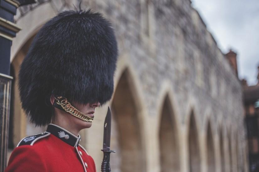 Standing guard outside of Windsor Castle.
