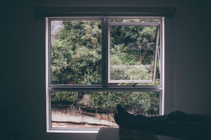 Window frame looking outside