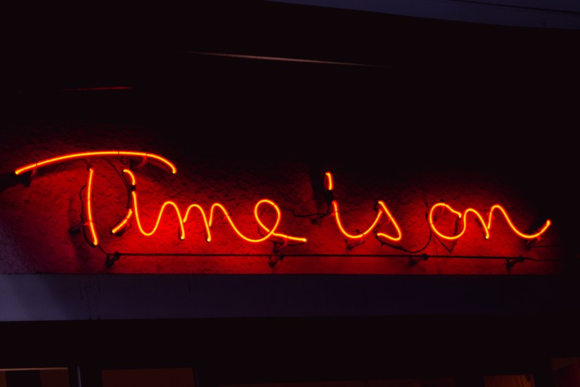 Time Is On neon sign. Photo: Trixie Pacis