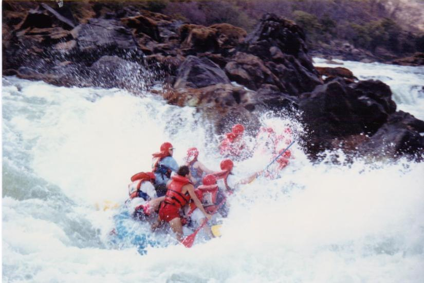 Rapid a few days down the Zambezi from Victoria Falls, unseen by most, known as 'Upper Moemba Falls'. Photo: Jackie Lambert