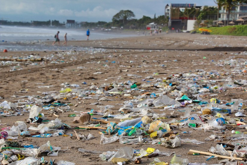 Plastic garbage on a beach in Bali