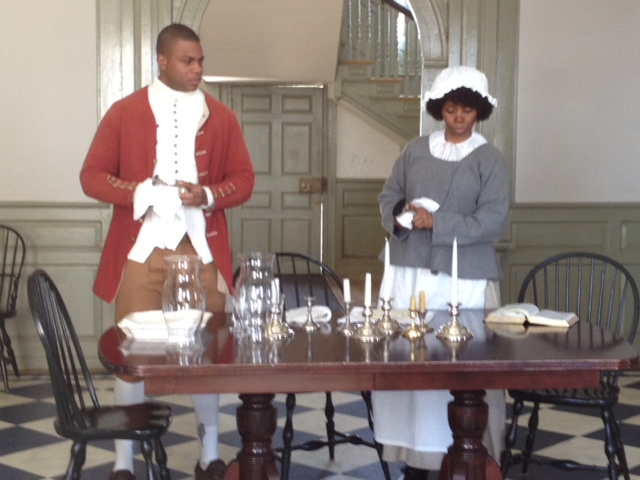 Actors portraying people who were enslaved in the Schuyler household in the 1790s during the four act play, The Accused. The program featured different perspectives on the trial of three enslaved children accused of setting fire to Albany in 1793. Photo courtesy of Schuyler Mansion State Historical Site.
