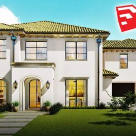 SketchUp 2D to 3D Spanish Modern Home Design Free Download  (Premium)