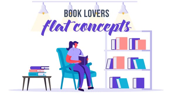 Videohive Book Lovers Flat Concept 33544775 Free Download