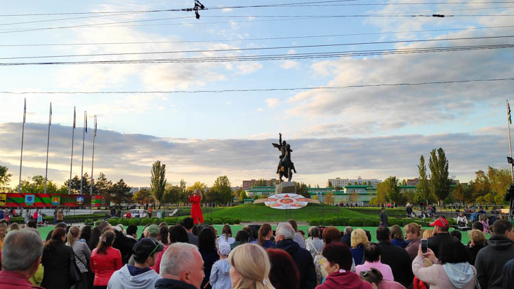 Singer at Victory Day in Transnistria.