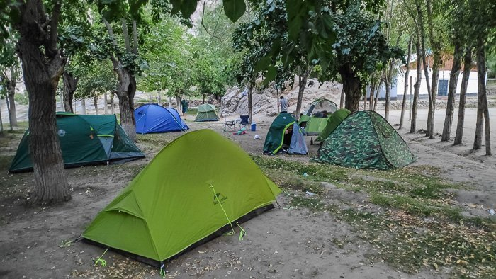 Camping in the village along the Pamir Highway