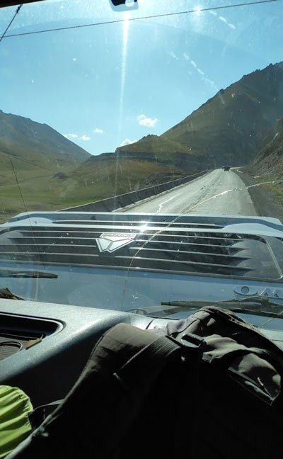 overheated truck while hitchhiking in kyrgyzstan