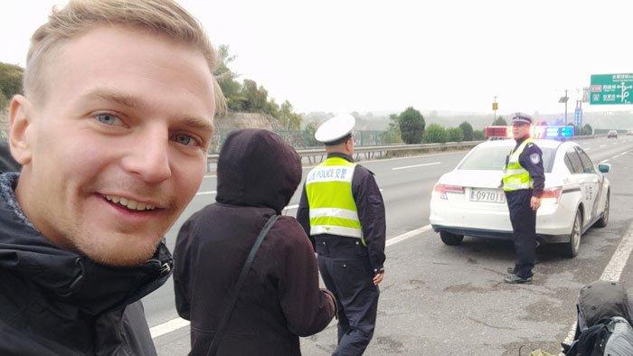 police hitchhiking