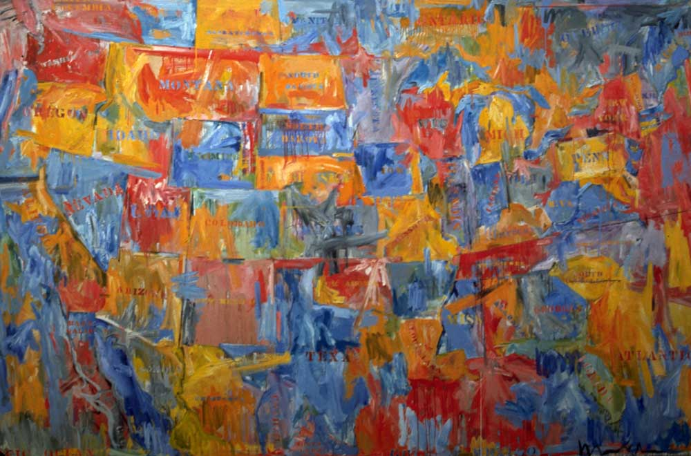 JOHNS Jasper | Map. | 1961 | American | Pop Art | | North America. | | ©Jasper Johns ; Kathleen Cohen