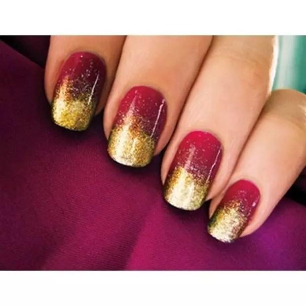Trendy Negative E And Gold Nail Art