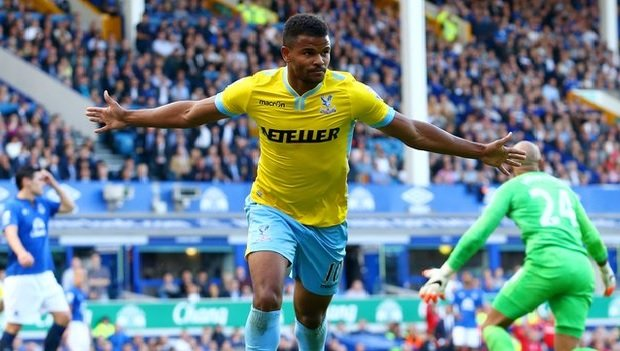 SURPRISE: Frazer Campbell celebrates his goal that put Palace 2-1 ahead