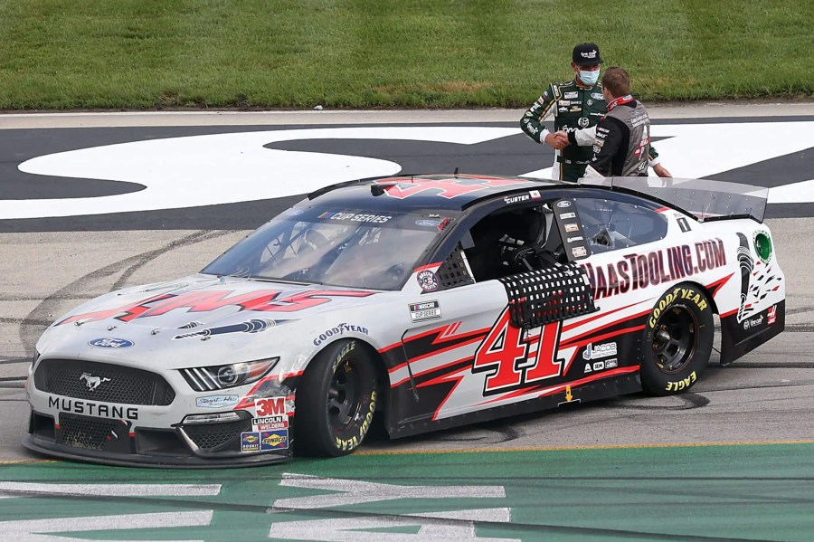 Cole Custer celebrates his first Cup win at Kentucky