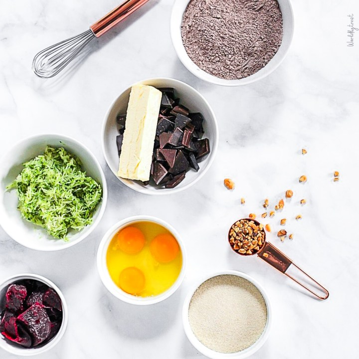 ingredients for chocolate zucchini brownies