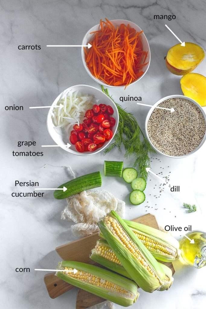 ingredients for quinoa bowl