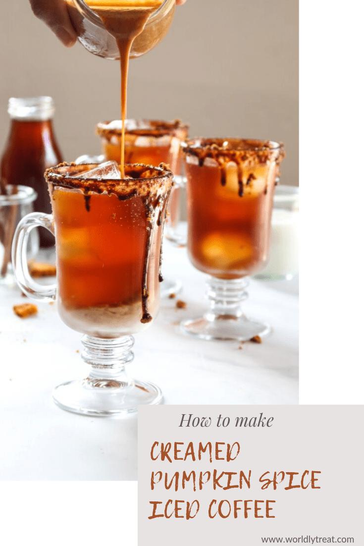 creamed pumpkin spice iced coffee