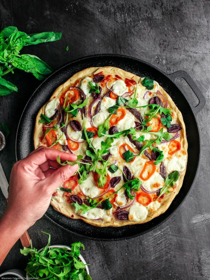 a pan of anchovy pizza