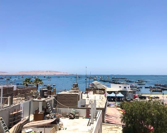 paracas restaurant peru overlooking ocean and fishing boats