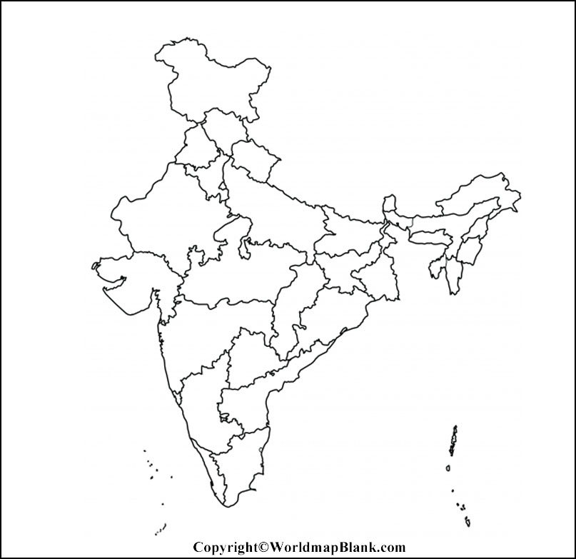 Printable Blank Map of India