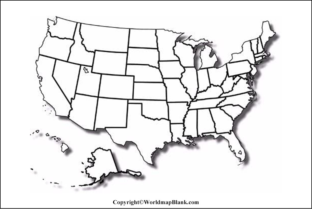 Printable Blank Map of USA- Outline, Transparent, PNG Map