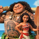 moana and maui stand in front of the ocean