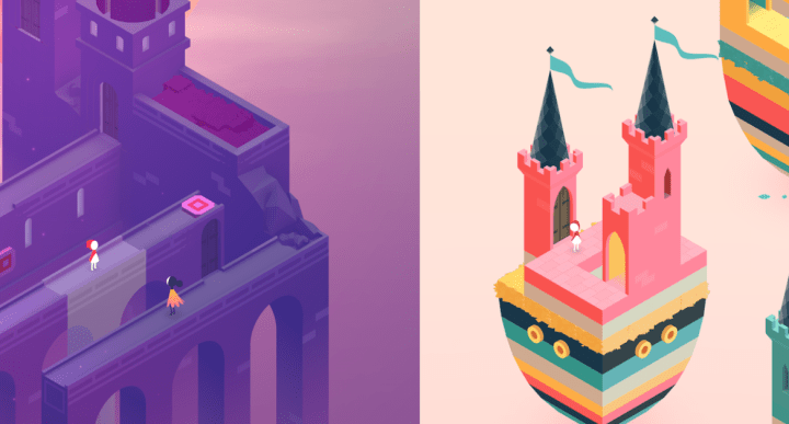 puzzle stages in monument valley 2 suspended in air