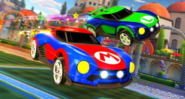 mario themed rocket league cars